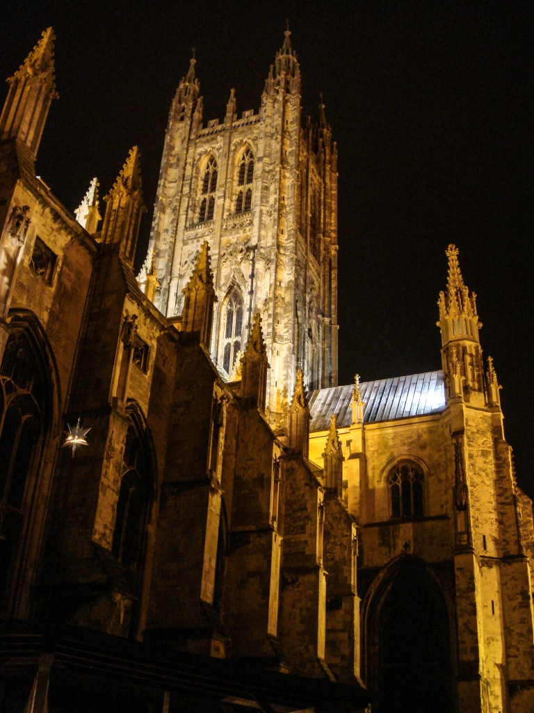 The brightly lit exterior of  Canterbury Cathedral