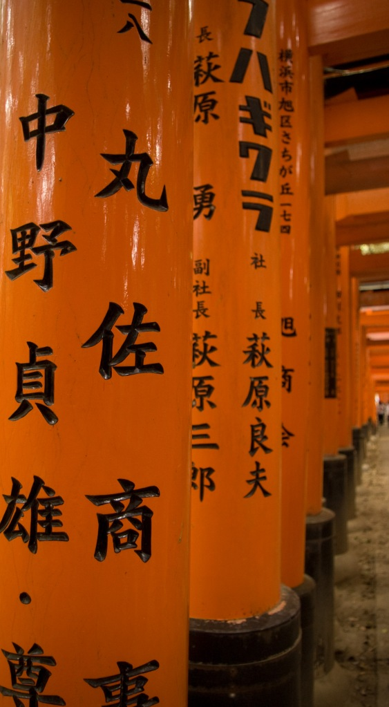 The never-ending Torii Gates at the Fushimi Inari Shrine.