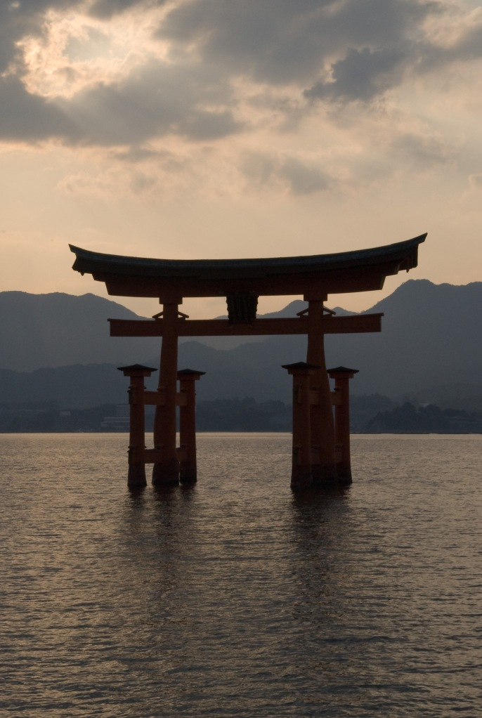 The Itsukushima Shrine at high tide