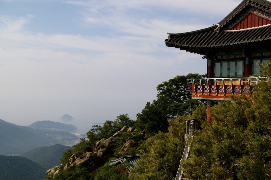 A Buddhist temple sits atop a mountain in the Southern part of South Korea