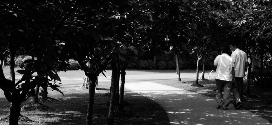 Two men take a stroll through the Jing'an Sculpture Park
