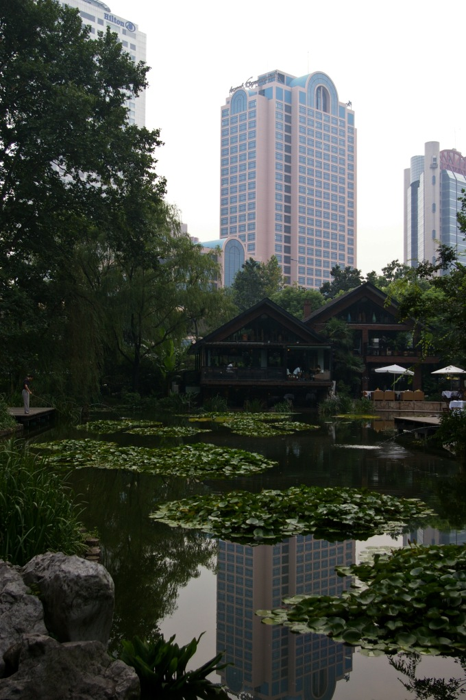 Peaceful Jing'an Park, nestled amongst the towering skyscrapers of Shanghai