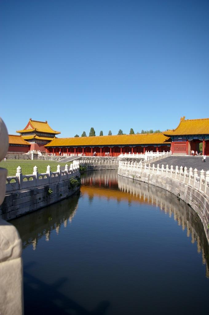 A reflective stream running through the Forbidden City