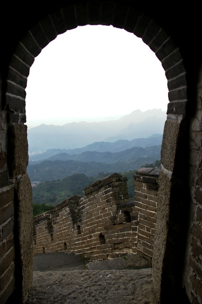View from a gate along the Great Wall of China