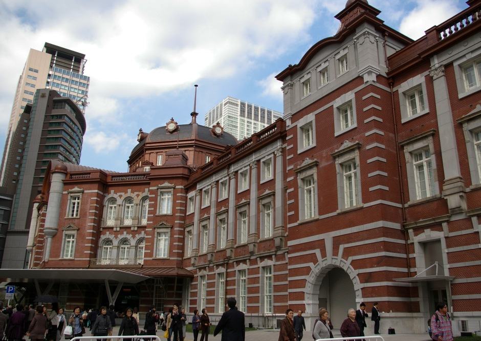 The classic facade of the Tokyo Central Railway Station