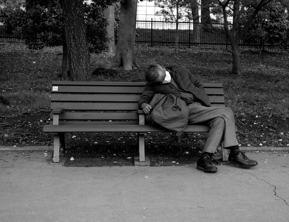 An old man naps under the cherry trees near the Kokyo Gaien National Garden