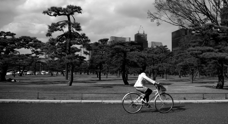 A woman cycles through the Kokyo Gaien National Garden